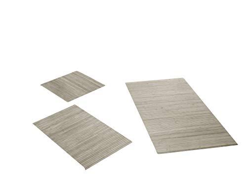 Hygienische, nachhaltige und Rutschfeste Badematte aus Bambus im 3-er Set, Farbe: Powder von DE-Commerce I Fussmatte Badteppich Bambusmatte Duschmatte Badezimmermatte Bamboo Badematte Badvorleger