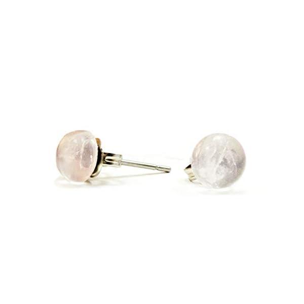6mm Rose Quartz Crystal Stud Earrings Hypoallergenic Surgical Steel   Little Gems Jewels 31gxZinqH8L