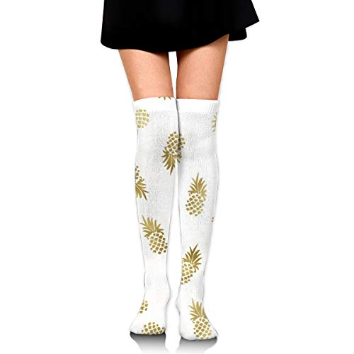 Gold Pineapples Toss Custom Women's Over Knee Thigh Socks Girl High Stockings 65 Cm/25.6In -