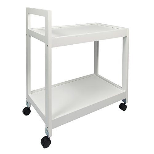 woodluv MDF 2 Tier Kitchen Storage Serving Trolley Island Cart with Wheels