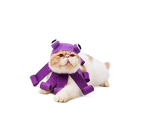 HengQiu Octopus Haustier-Katzenmütze für Halloween, Weihnachtsfeiertage Kopfbedeckungsmütze aus Filz, verstellbar, für Kleine Hunde, einfach zu Verwenden und zu Tragen, Premium-Qualität, Violett