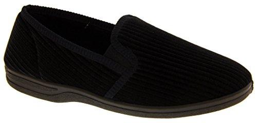 Footwear Studio Herren Elastischer Seitenfalte Komfort Pantoffeln Marine Blau
