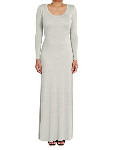 Plain Bodycon Scoop Neck Langarm-Maxi-Kleid (Scoop Neck Langarm Kleid)