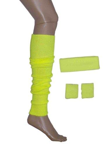 NEON RETRO Schweißband Head Handgelenk Band und Stulpe Set 1980er Kostüm verschiedenen Farben schwarz blau türkis grün orange rosa lila rot weiß gelb (RB Mode Kleidung)