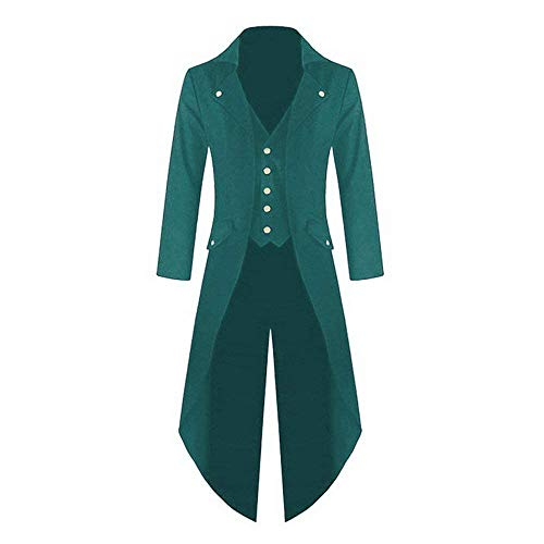 (Herren Frack Steampunk Gothic Vintage Viktorianischen Cosplay Bequeme Größen Jacke Langer Smoking Jacke Uniform Mantel Kleidung (Color : Grün, Size : 4XL))
