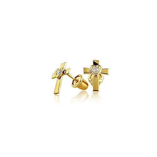 Winzige Religiösen Christlichen Herzen Kreuz Ohrstecker Für Damen CZ Echten 14K Gold Schraubverschluss Ohrringe