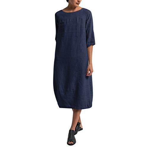 eit Kleider Blusenkleider Lässige Rundhals Einfarbig Casual Urlaub Sommerkleider Strandkleid Midi Dress Frauen kostüme übergröße ()