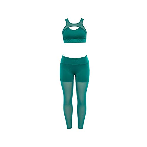 n Mesh Patchwork Two Piece Set Sporting Breathable Suit High Waist Slim Leggings ()