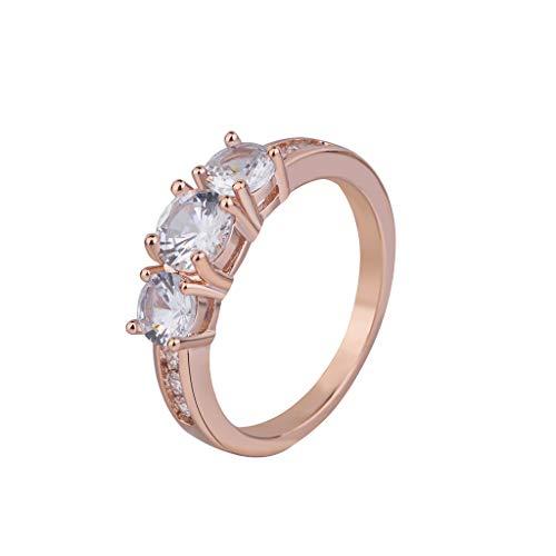 Nourich - fede nuziale da donna alla moda con micro intarsiati di zircone cubico taglio princess, placcato in oro rosa, regalo perfetto per fidanzata, moglie, madre