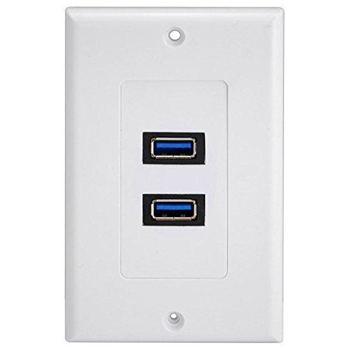 Wandplatte Wandsteckplatt Panel 2*USB 3.0 Port Outlet rechteck wanddose Tafel Netzkabel und Mehrfachsteckleisten