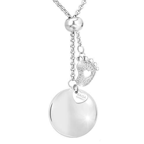 Saga Gioielli - Collier appeleur d'anges, bola de grossesse, sautoir, longueur réglable, petit pied, avec cristaux