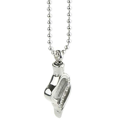 IPOTCH Urne Anhänger Halskette - Blume Form Anhänger Ketten Edelstahl Schmuck Unisex - Silber 5
