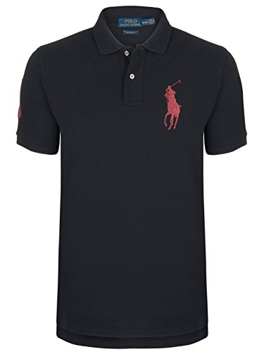 Polo-pony-shirt (Ralph Lauren -Slim Fit- Poloshirt Big Pony (XL, Schwarz/Rot))