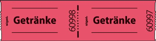 """Preisvergleich Produktbild Sigel GR654 Gutscheinmarken-Rollen """"Getränke"""", rot, 60x30 mm, 500 Bons, fortlaufend nummeriert"""