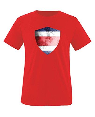 Costa Rica Kleid (Comedy Shirts - Costa Rica Trikot - Wappen: Groß - Wunsch - Kinder T-Shirt - Rot / Weiss Gr. 122-128)