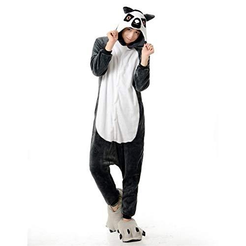 DUKUNKUN Erwachsene Pyjamas Waschbär/Bär Pyjama Kostüm Flanell Grau Cosplay Für Tier Nachtwäsche Cartoon Halloween Festival/Urlaub,XL