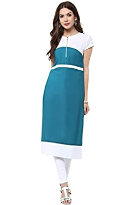 Janasya Women's Blue Casual Crepe Kurti - Blue Wash Care : Dry clean or hand wash in cold water.