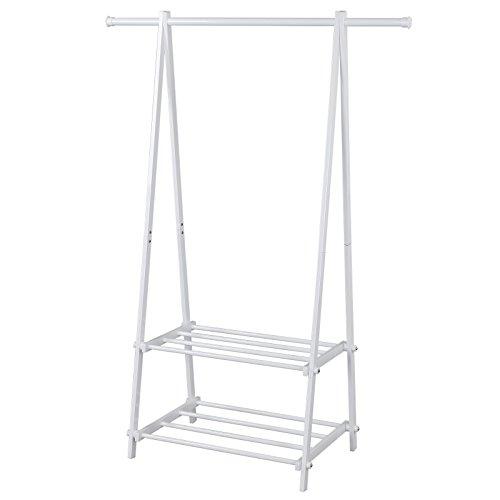 Songmics Kleiderständer Garderobenständer mit 2 Ablagen, Höhe 150 cm / Metall / Weiß LLR12W