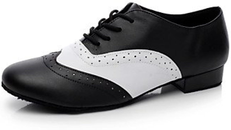 Aemember Los hombres 039;s Zapatos de Baile talón plano negro,Blanco y Negro,US9.5/UE42/UK8.5/CN43  -