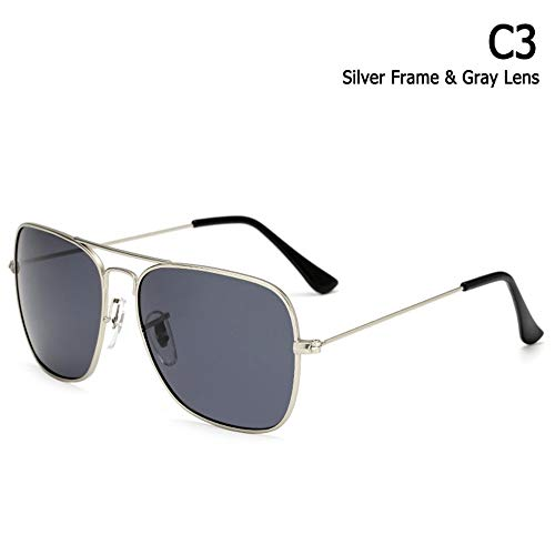 ZHOUYF Sonnenbrille Fahrerbrille Klassische Caravan Stil Polarisierte Quadratische Luftfahrt Sonnenbrille Männer Vintage Retro Brand Design Sonnenbrille Oculos De Sol, C