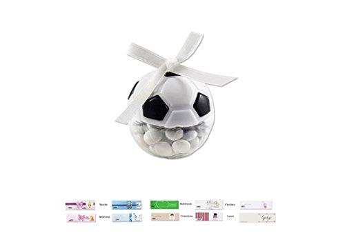 Scatoline portaconfetti pallone da calcio 24 pz tk-0845 + nembo + nastrino+ bigl (bianco/nero)