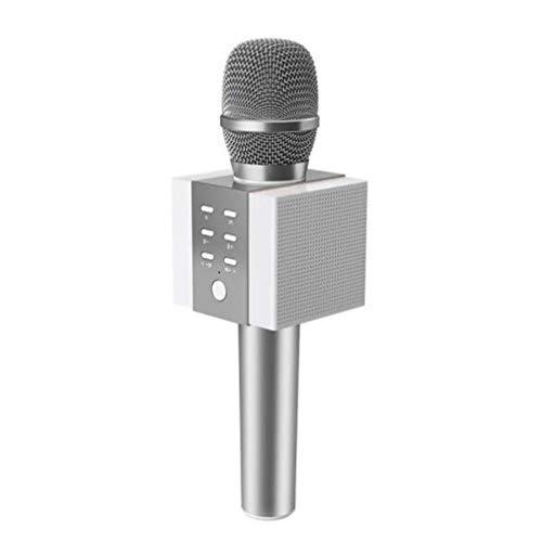 Outdoor-kondensator (Mikrofon Audio integriert eine, drahtlose Bluetooth-Dual-Lautsprecher 10W Hochleistungs-3D-Surround-Unterstützung IF-Karte Kondensatormikrofon, geeignet für Outdoor-Heim-Mobilcomputer K Song,Silver)