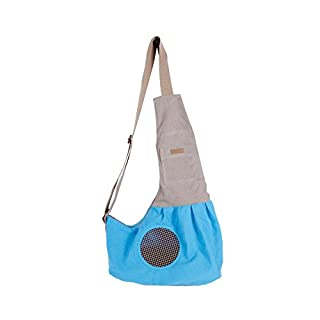 Small Dog Sling Carrier Bag with Built-in Hook Portable Hands-free Pet Travel Tote Shoulder Carry Bag (Blue)