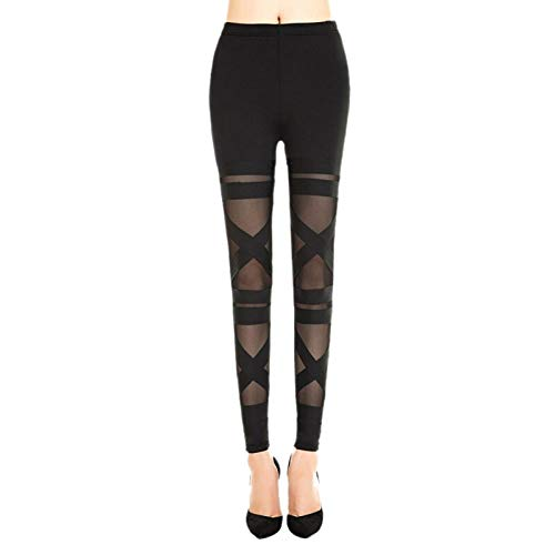 WSJDE Leggins de Malla para Mujer Punk Rock 2020 Sexy Halloween Gótico Leggins Slim Negro elástico Vendaje Femme Pantalones