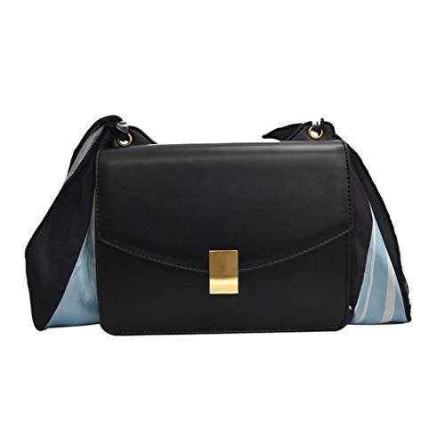 Simanli Elegante New Look Schultertasche Seide Schal Designer Handtaschen für Frauen Branded Crossbody Taschen für Frauen Gr. One size, Schwarz - Seide Lösung