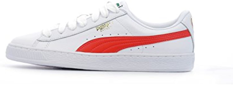 Puma Classic LFS, zapatillas bajas Unisex, Puma White / Flame Scarlet, 36