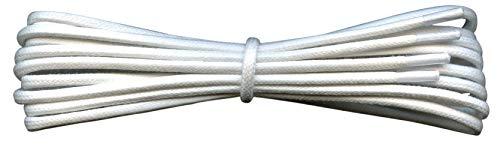 Fabmania 2 mm redondo blanco encerado algodón cordones-120 cm de longitud-cordones finos para zapatos de vestir y botas.