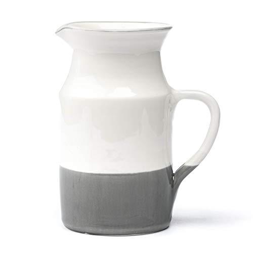 Barefoot Living Krug aus Keramik 1,2 Liter in Weiß und Anthrazit - Keramikkrug zum Servieren von Wasser, Milch oder Tee