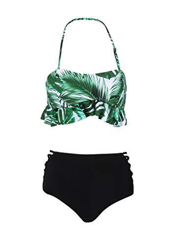 Glam and Gloria Tropischer Palmen Blatt Damen Bikini mit hoher Taille und Rüschen (2-TLG. Set) - Gr. L (Up Set High Bikini Pin Waist)