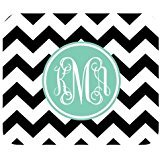 Monogram Personalized Black and White Chevron Vs Turquoise Initials Unique Custom Mouse Pad (Metallo Monogram)