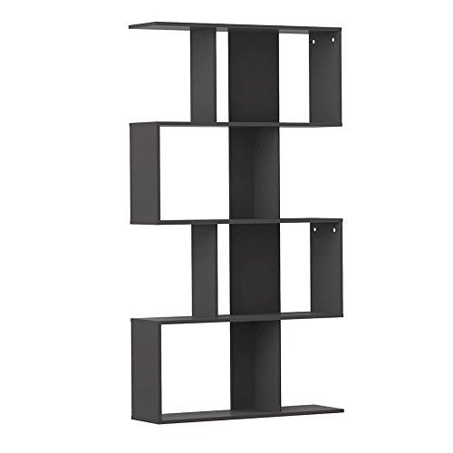 Modern loft samuel b2 libreria, legno, nero, 165 x 89 x 25 cm