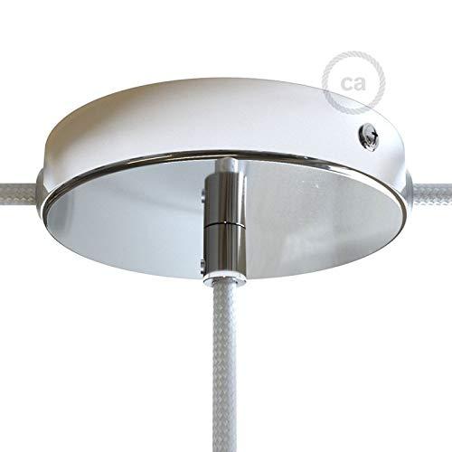 Kit Rosace en métal chromé avec Serre-câble cylindrique, 1 Trou Central et 2 Trous latéraux, Accessoires Inclus