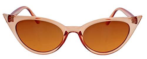 50er Jahre Damen Sonnenbrille oder Vintage Brillengestell mit Klarglas Cat Eye Form Katzenaugen Modell FARBWAHL 73 (Tangerine)