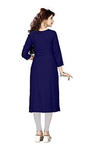 HF HOLYDAY FASHION Girls Rayon A-Line Kurti (Medium, Blue)