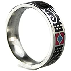 # 300Mujer Anillo de acero inoxidable Exclusiva brillantes esmalte joyas y multicolor tamaños 171819 negro