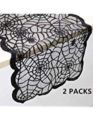LGHome Tischläufer mit Spitze, 33 cm x 183 cm, Spinnennetz, Spitze, Schwarz, 2 Stück (Movie-ideen Für Scary Halloween)