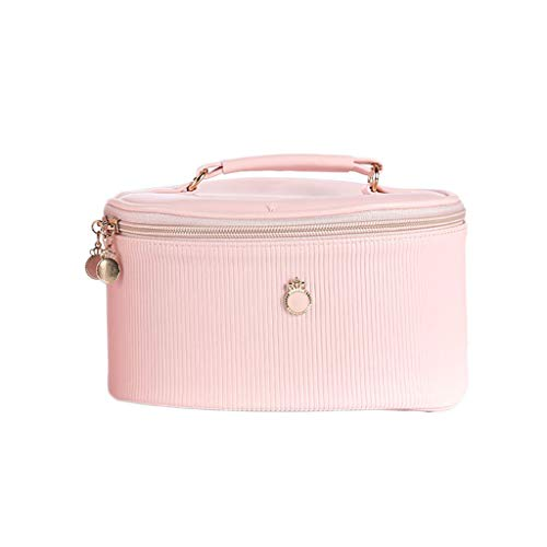 Sac cosmétique portatif Simple portatif Simple portatif de Grande capacité de Cas cosmétique (Color : Pink, Taille : 20 * 14 * 10cm)