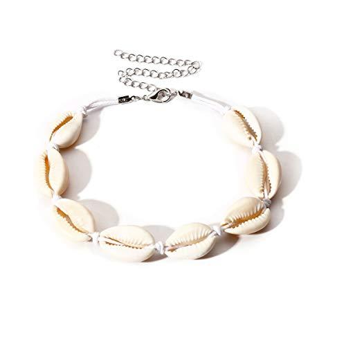 Faith Wings Natürliches Muschel-Armband Frauen - Einstellbar Barfuß Strand Fußkettchen Boho Fuß Schmuck Set für Damen Mädchen (Weiß)