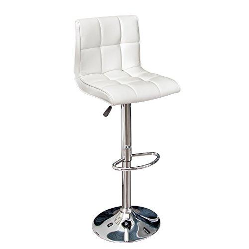 Stylischer Barhocker MODENA weiß Barstuhl Kunstleder höhenverstellbar Tresenstuhl Küchenstuhl