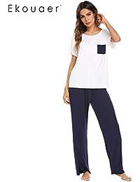 aa60fbe928 HITSAN Ekouaer Women Casual Pajamas Set O-Neck Short Sleeve Full Length  Sleepwear Spring Summer Nightwear Female Nighties…