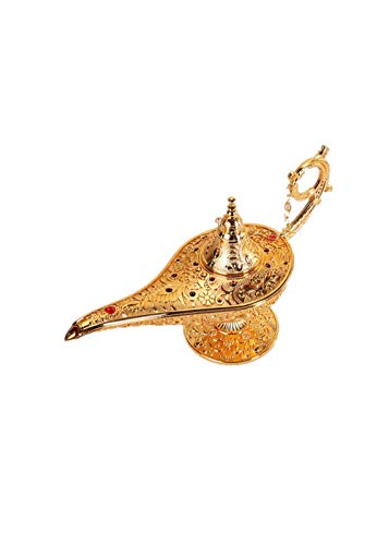 XJAXY Dekorative Ornamente Kreative Aladdin Magic Genie Lampen Licht Lampe FüR Home Tischdekoration Party Halloween Geburtstag, Gold