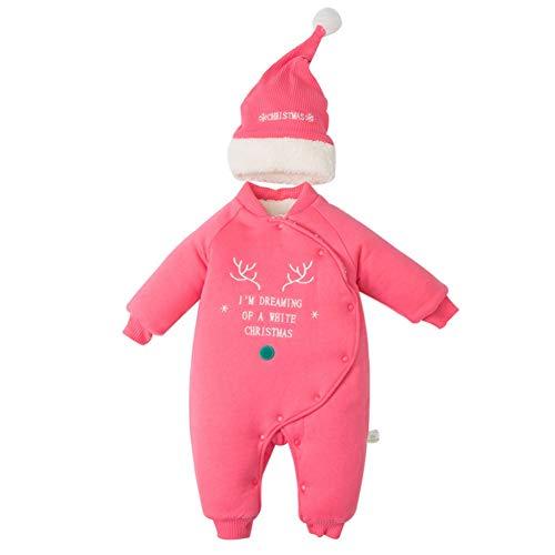 Blaward Weihnachten Babyspielanzug Winter Strampler Verdickung Overall Onesies Baumwolle Fleece Babykleidung mit Hut 2 STÜCKE