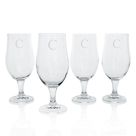 Cathy's Concepts Personalized Elegant Pilsner Glasses, Set of 4, Letter