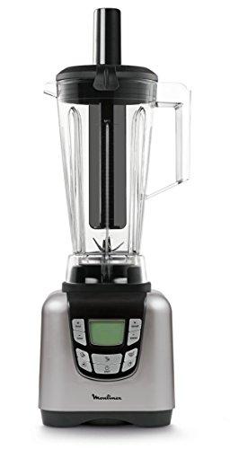 Moulinex UltraBlend LM935E10 Batidora de vaso de 1500 W y 6 programas automáticos, 6 cuchillas acero inoxidable, pantalla digital intuitiva, vaso de Tritan ultra resistente y ligero, incluye espátula