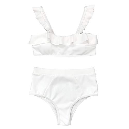 Bikini-Sets Damen, Geteilter Badeanzug Frauen Einfarbiges Rüschen Schwimmanzug High Waist Slip Bikinioberteile Badeanzüge Zweiteiler Bademode Swimsuit Swimwear Bekleidung (Weiß, S) - 6