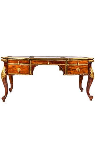 Antiker Schreibtisch schmal Eyad 165cm Braun | Vintage Tisch Bürotisch orientalisch handgeschnitzt | Landhaus Computertisch Konsolentisch aus Holz massiv | Asiatische Deko Möbel aus Indien -